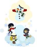 Herstellung eines Schneemannes mit Freunden Stockfoto