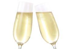 Herstellung eines Toasts mit zwei Champagne-Gläsern Stockfoto