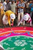 Herstellung von Rangoli Stockbilder