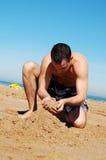 Herstellung von Sandcastle Lizenzfreie Stockfotografie