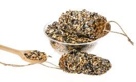 Herstellung von Zufuhren für Vögel von den Samen und vom Fett Stockfoto