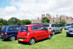 Herstmonceux Castle car park in East Sussex, England Royalty Free Stock Images
