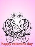 Hert do redemoinho do Valentim com flor foto de stock royalty free