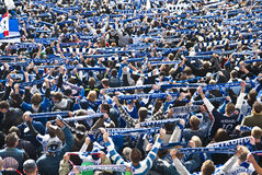 Herta Berlin supporters. Supporters of Herta Berlin fc showing scarfs Stock Photo
