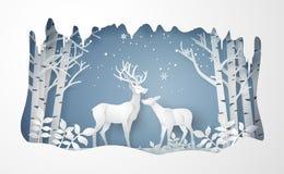 Herten in bos met sneeuw vectordocument kunststijl vector illustratie
