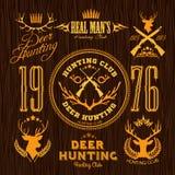 Herten die - vector jagen die voor de jachtembleem wordt geplaatst Royalty-vrije Stock Afbeelding