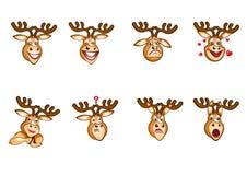 Herten Emoji, Hertenemoties, Emoji-Hertenreeks, Stickersstemming Stock Afbeeldingen