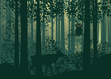 Herten en Abstract Forest Landscape Stock Illustratie