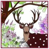 Herten en bloem Stock Afbeeldingen