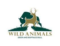 Herten en Buffelssymbolen in de wildernis stock afbeelding