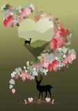 Herten en damhinde voor valentijnskaartconcept Royalty-vrije Stock Afbeelding