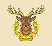 Herten en Kerstmiskroon Royalty-vrije Stock Afbeeldingen