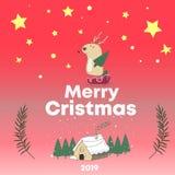 Herten, het huis en de sneeuw van de Cristmaskaart de Grappige Zoet Huis Rode Achtergrond met peperkoekhuizen, suikergoed, en pep vector illustratie