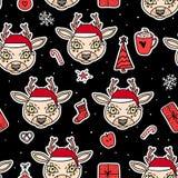 Herten in hoed Vector Vrolijk Kerstmis naadloos patroon De vakantie overhandigt getrokken stickerontwerp als achtergrond royalty-vrije illustratie