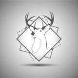 Herten hoofddieembleem op witte achtergrond wordt geïsoleerd Stock Foto