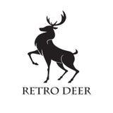 Herten Logo Retro Vector Illustration Template Royalty-vrije Stock Afbeelding
