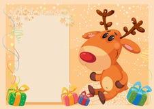 Herten met bannerkaart Stock Afbeeldingen
