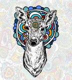 Herten met gekleurd ornament stock illustratie