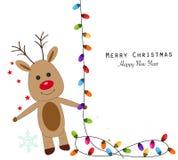Herten met kleurrijke gloeilampen Vrolijke Kerstmis en Gelukkige de groetkaart van het Nieuwjaar Royalty-vrije Stock Foto