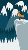 Herten op de berg Stock Illustratie