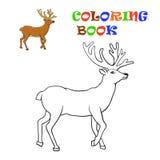 Herten Santa Claus het kleuren voor jonge geitjes Stock Afbeelding