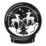 Herten snowglobe pictogram, eenvoudige stijl stock illustratie