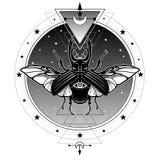 Herten van het mystiek symbool de gehoornde insect Alle-ziet oog Heilige Meetkunde royalty-vrije illustratie