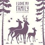 Hertenfamilie royalty-vrije illustratie