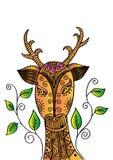 Hertenhoofd in decoratieve stijl Stock Illustratie