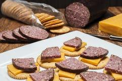 Hertevleesworst, jalapeno, kaas, crackers stock fotografie