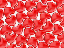 Herts red. Valentine's Day celebration concept: red glossy shiny lolipop in the form  of heart  isolated on white background Royalty Free Stock Photos