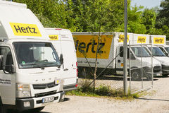 Hertz trucks. Lots of Hertz trucks with copy space Royalty Free Stock Image