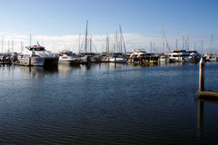 Hervey Bay marina. Scenic view of boats moored in Hervey Bay marina, Queensland, Australia Stock Image