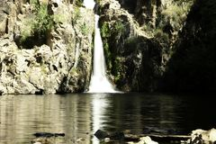 Hervidero waterfall with high contrast. Madrid stock images