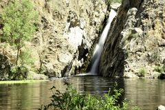 Hervidero waterfall with high contrast. Madrid, Spain royalty free stock images
