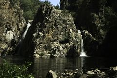 Hervidero waterfall with long exposure stock photography