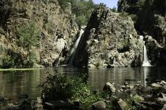 Hervidero waterfall with long exposure stock image
