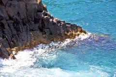 Hervideros brown rock in white coast lanzarote Stock Photography