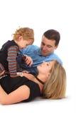 Hervorbringen Sie mit Sohn und Mutter in einem Korn Lizenzfreie Stockbilder