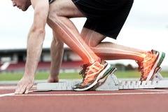 Hervorgehobene Knochen des Mannes ungefähr zum Rennen Lizenzfreie Stockbilder