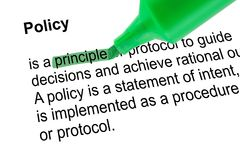 Hervorgehobenes Wortprinzip mit grünem Stift Lizenzfreies Stockfoto