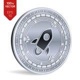 hervorragend isometrische körperliche Münze 3D Digital-Währung Cryptocurrency Silbermünze mit Sternsymbol lokalisiert auf weißem  Stockfotografie