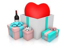 Herz auf giftbox lizenzfreie abbildung