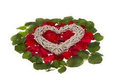 Herz auf rosigem Bett Stockbilder