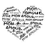 Herz bestanden aus Aufschriften in französischem ` Montag-Liebe ` im Stil des Handwerks Abstrakter Hintergrund von verschiedenen  Stockfoto