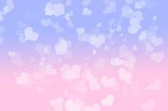Herz bokeh blau und rosa Stockfotografie