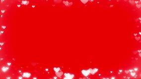 Herz bokeh Rahmen auf dem roten Hintergrund lizenzfreie abbildung