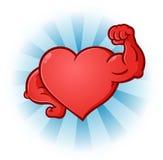 Herz, das Muskel-Zeichentrickfilm-Figur biegt stock abbildung