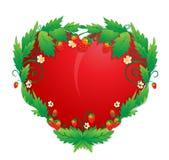 Herz in den Erdbeeren Stockfoto