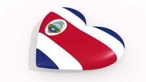 Herz in den Farben und in den Symbolen von Costa Rica auf weißem Hintergrund, Schleife lizenzfreie abbildung